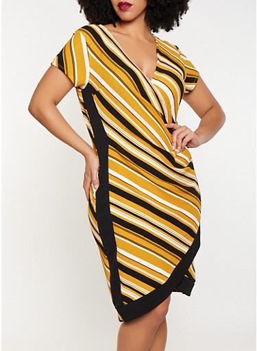 Plus Size Striped Contrast Trim Dress,MUSTARD,large