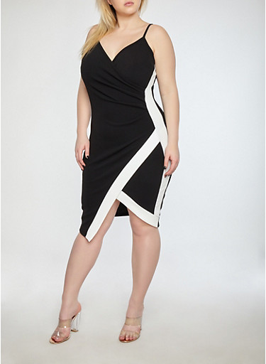 Plus Size Textured Knit Contrast Trim Ruched Dress,BLACK/WHITE,large