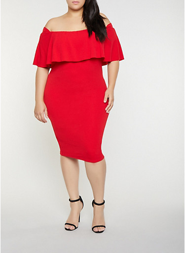 Plus Size Off the Shoulder Bodycon Dress,RED,large