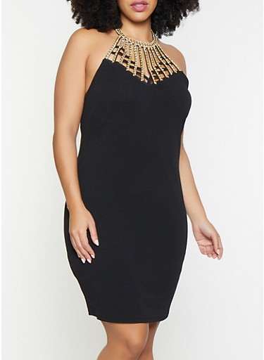Plus Size Rhinestone Studded Bodycon Dress,BLACK,large