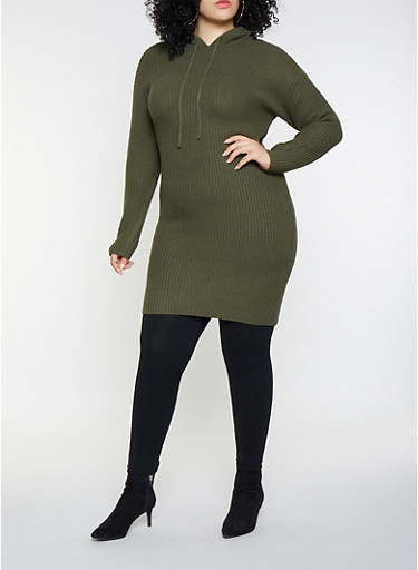 Plus Size Hooded Sweater Dress,OLIVE,large