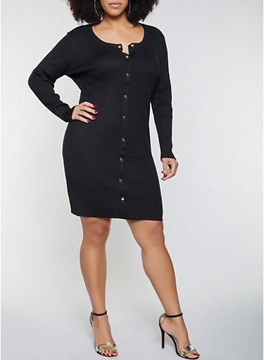 Plus Size Button Front Sweater Dress,BLACK,large