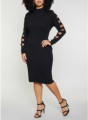 Plus Size Caged Sleeve Sweater Dress,BLACK,large