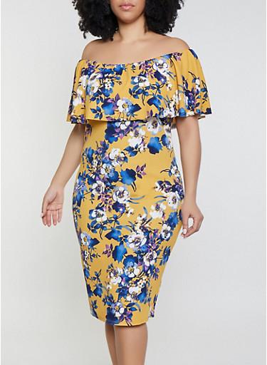 Plus Size Crepe Knit Off the Shoulder Midi Dress,MUSTARD,large