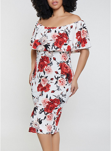 Plus Size Floral Ruffled Off the Shoulder Dress | Ivory,IVORY,large