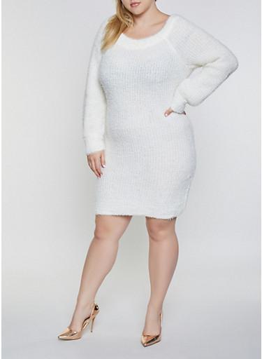 Plus Size Feathered Knit Sweater Dress,IVORY,large