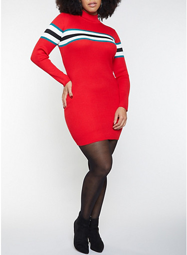 Plus Size Striped Detail Sweater Dress,RED,large