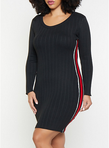 Plus Size Striped Tape Sweater Dress,BLACK,large