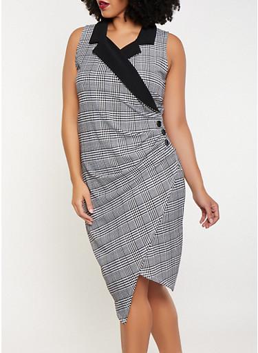 Plus Size Printed Faux Wrap Blazer Dress,WHT-BLK,large