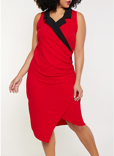 Plus Size Faux Wrap Blazer Dress,RED,large
