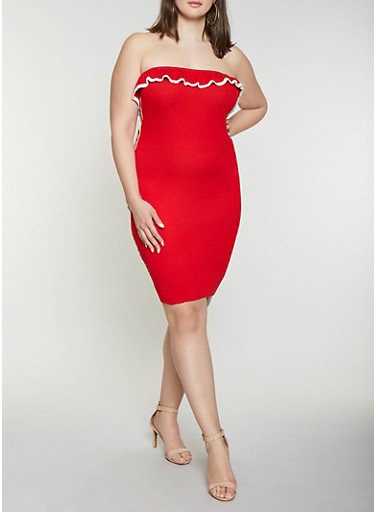 Plus Size Ruffled Contrast Trim Tube Dress,RED,large
