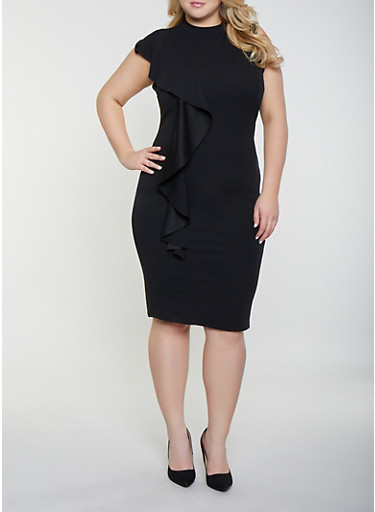 Plus Size Ruffled Mock Neck Dress,BLACK,large