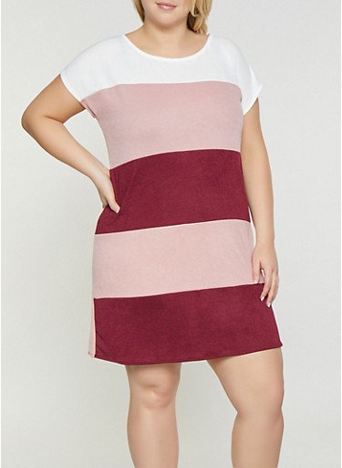 Plus Size Striped Shift Dress,IVORY,large