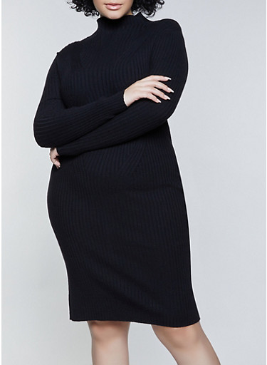 Plus Size Ribbed Lettuce Edge Sweater Dress,BLACK,large