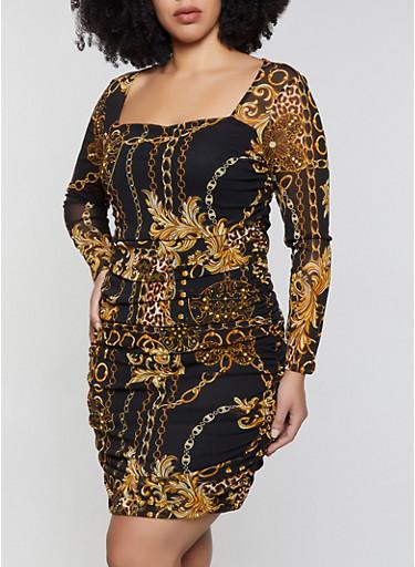 Plus Size Chain Print Mesh Bodycon Dress,BLACK,large