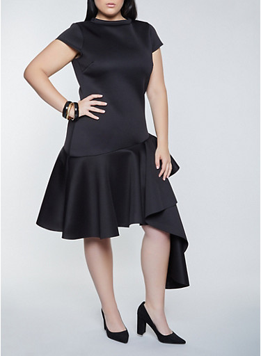 Plus Size Scuba Knit Asymmetrical Dress,BLACK,large