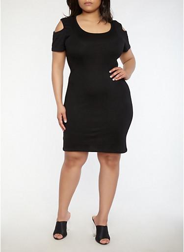 Plus Size Cold Shoulder Ribbed Knit Dress,BLACK,large