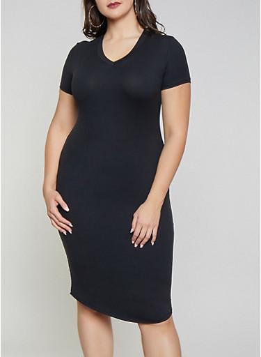 Plus Size V Neck T Shirt Dress,BLACK,large