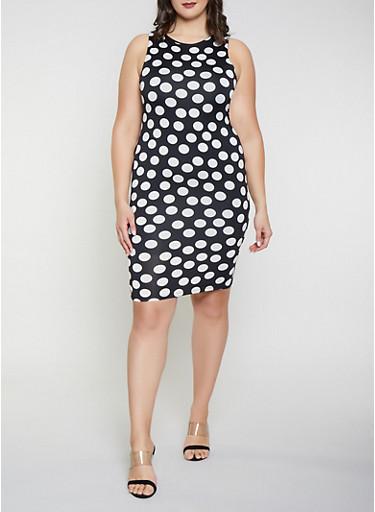 Plus Size Polka Dot Tank Dress,BLACK,large