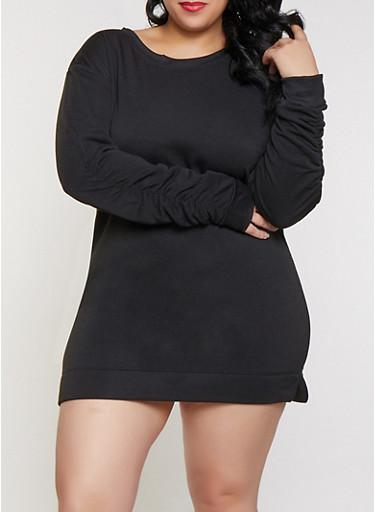 Plus Size Scoop Neck Ruched Sleeve Sweatshirt Dress,BLACK,large