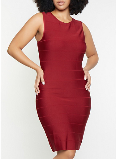Plus Size Sleeveless Bandage Dress,RED,large