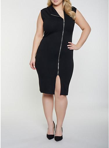Plus Size Ponte Zip Front Dress,BLACK,large
