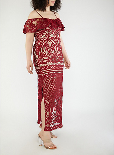 Plus Size Crochet Off the Shoulder Maxi Dress,BURGUNDY,large