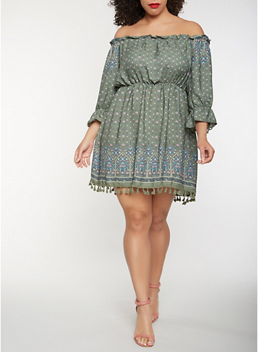 Plus Size Off the Shoulder Border Print Dress,SAGE,large