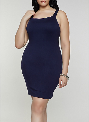 Plus Size Sleeveless Bodycon Dress,NAVY,large