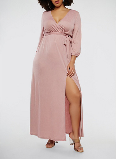 Plus Size Faux Wrap Belted Maxi Dress with Sleeves,MAUVE,large