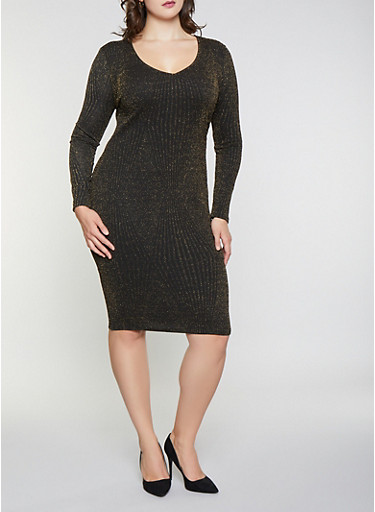 Plus Size Shimmer Knit Bodycon Dress,GOLD,large