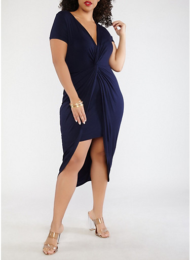 Plus Size Knot Front Dress,NAVY,large