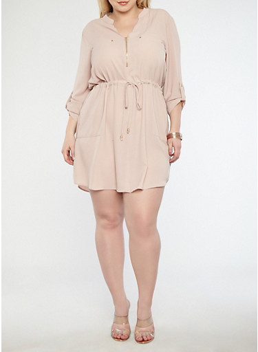 Plus Size Crepe Knit Zip Neck Shift Dress,LIGHT CINNAMON,large