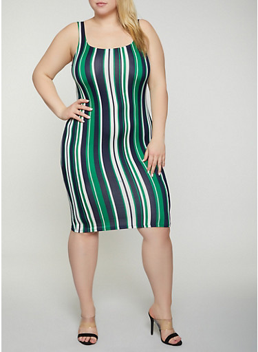Plus Size Soft Knit Vertical Stripe Tank Dress,GREEN,large