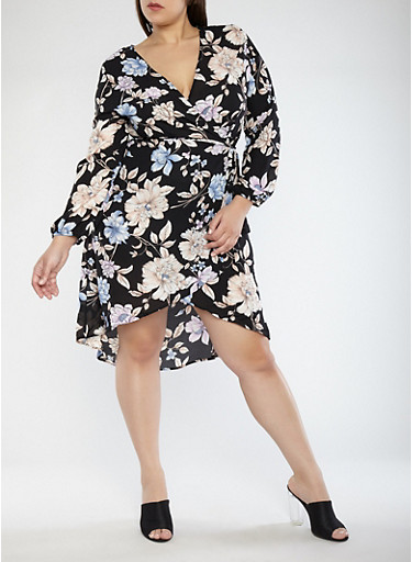 Plus Size Wrap Dress,BLACK,large
