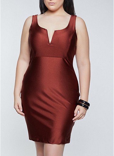 Plus Size Spandex Bodycon Dress,BROWN,large