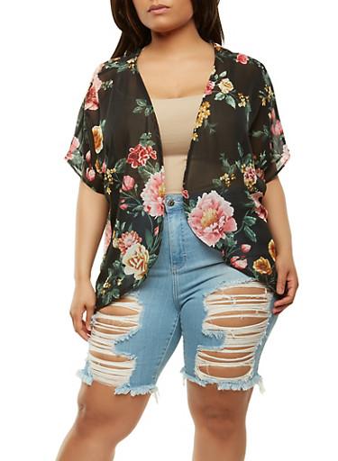 Plus Size Floral Chiffon Kimono | Tuggl