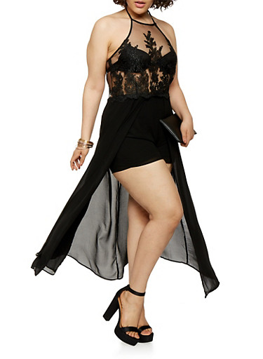 Plus Size Embroidered Mesh Maxi Romper,BLACK,large