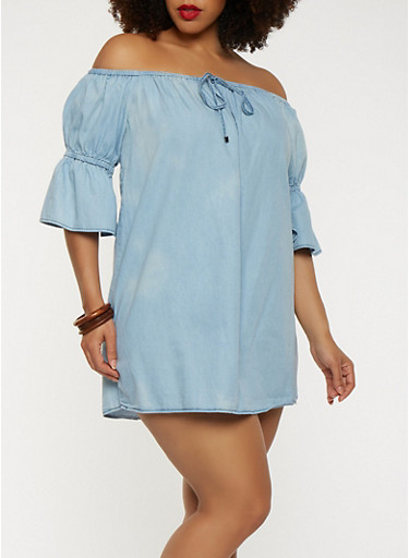 Plus Size Chambray Off the Shoulder Dress,BLUE,large