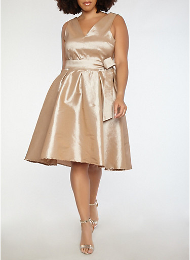 Plus Size Open Back Taffeta Dress,TOWN TAUPE,large