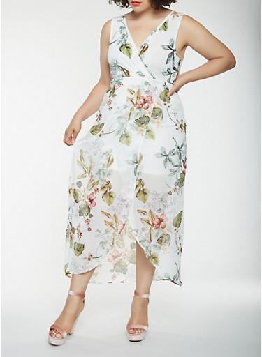 Plus Size Printed Faux Wrap Maxi Dress,IVORY,large