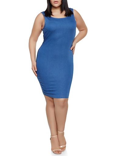 Plus Size Denim Bodycon Dress,MEDIUM WASH,large