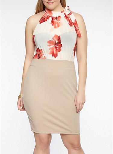 Plus Size Sheer Floral Mesh Bodycon Dress,NATURAL BURGUNDY,large