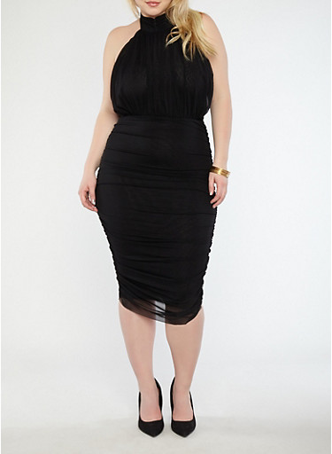 Plus Size Ruched Mesh Midi Dress,BLACK,large