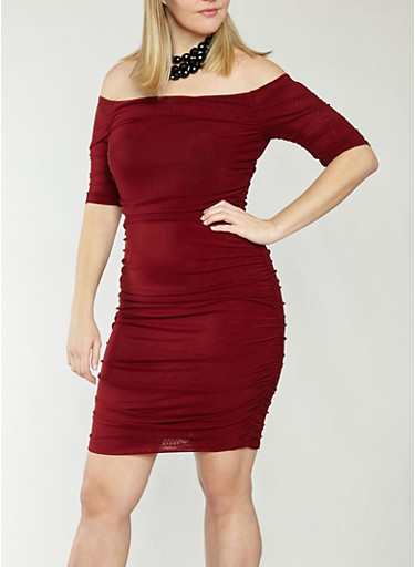 Plus Size Ruched Mesh Off the Shoulder Dress,BURGUNDY,large