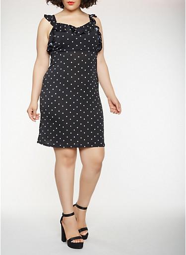 Plus Size Ruffle Polka Dot Dress,BLACK/WHITE,large