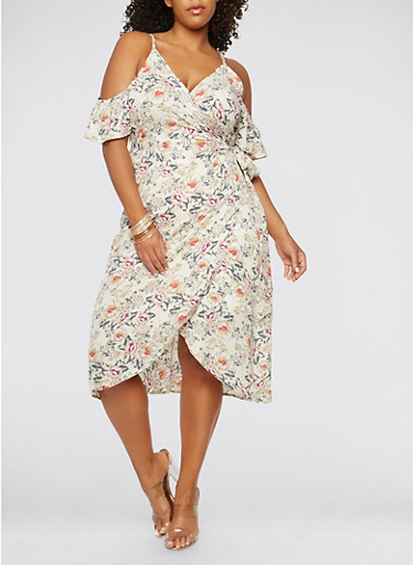 Plus Size Floral Cold Shoulder Wrap Dress,CREAM,large