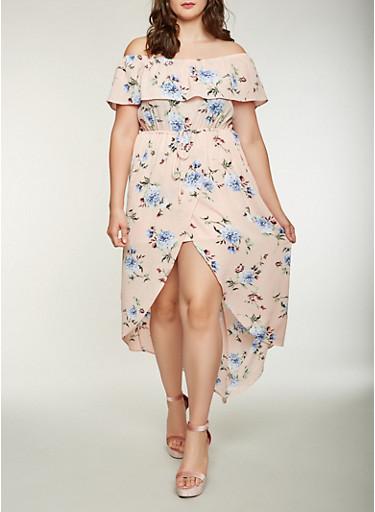 Plus Size Floral Off the Shoulder High Low Dress,BLUSH,large