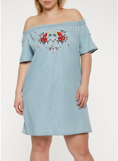 Plus Size Embroidered Off the Shoulder Dress,DENIM,large