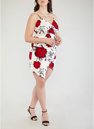Plus Size Floral Faux Wrap Dress,RED,large